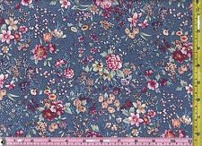 Medium Blue Blooming Flowers Cotton Calico Material 1/4 yd 22.5 cm off bolt