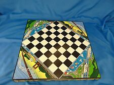 Wood toy box checker board pattern travel size checkers game boats bridge water