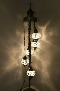 New 5 Glass Turkish Moroccan Style Handmade Clear Glass Floor Lamp