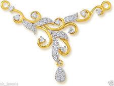 0.70ct DIAMOND 14k GOLD WEDDING MANGALSUTRA SET WITH PLAIN BLACK BEADED STRING