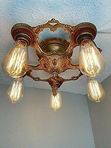 1930s Art Deco Cast Metal 5 Light Flush Mount Fixture #4