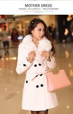 Women's Winter Coat Long Wool Jacket Fur Collar Slim Outwear Trench coat