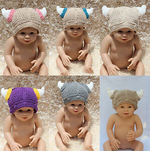 New Knit Crochet Baby Child Pirate Vikings Ox Horn Hat Baby Shower Hat Beanies