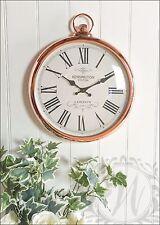 Copper Wall Clock French Vintage Pocket Watch Roman Numeral 42cm Kensington