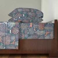Woodland Animals Forest Forest Forest 100% Cotton Sateen Sheet Set by Roostery