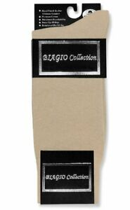 1 Pair of Biagio Solid BEIGE Color Mens COTTON Dress SOCKS