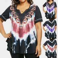Womens Fashion Casual Plus Size Tie dyeing Print Lace T-shirt Short Sleeve Tops