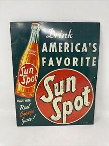 "Vintage 1947 Sun Spot Orange Soda Pop 15"" Embossed Metal Sign"