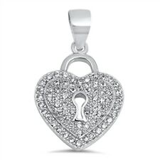 Heart Locked Cz  .925 Sterling Silver Pendant