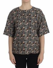 NWT $800 DOLCE & GABBANA Gray Gold Key Print Silk Blouse T-shirt IT42 / US8 / M