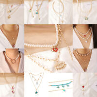 Fashion Women Multi-layer Choker Pendant Necklace Chain Jewelry Crystal Clavicle