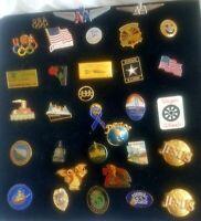 Lot of 32 Advertising Lapel Pins/Tie Tack/Pinbacks/Pendant-Vtg-Various-Veterans
