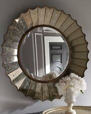 Antiqued Gold Venetian Etched Sunburst Round Wall Mirror 32� Horchow