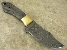 Damascus Steel Knife Making clip point Fixed Blade Blank Brass Guard Full Tang
