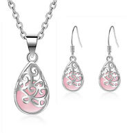 925 Silver Pink Opal Flower Pendant Necklace Earrings Set Women Fashion Jewelry