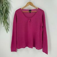 Eileen Fisher Womens Scoop Neck Linen Sweater Size Large L Pink Knit Long Sleeve