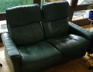 Stressless Doppel Zweisitzer Leder grün mit Kippfunktion Relax
