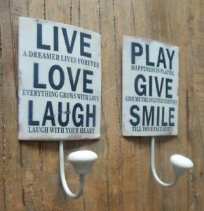 Metal single coat hook Rustic LIVE LOVE LAUGH / PLAY GIVE SMILE 2 Variations