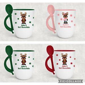 Personalised Christmas Mug Two Tone Mug With Spoon Kids Childrens Hot Chocolate