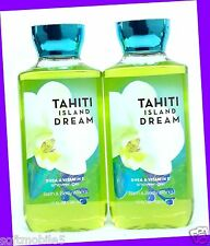 2 Bath & Body Works TAHITI ISLAND DREAM Shea Shower Gel Body Wash COCONUT MUSK