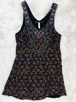 Free People FP Floral Hand Beaded Silk Tunic Mini Dress 8 Sleeveless Womens  Med