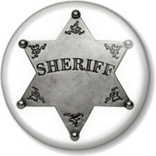 """Sheriff Badge 25mm 1"""" Pin Button Fancy Dress Party Costume Cowboys and Indians"""