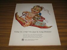 1963 Print Ad Bell Telephone System Baby on Flying Carpet Long Distance
