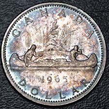 1965 CANADA $1 DOLLAR - .800 SILVER - Elizabeth II - BEAUTIFUL RAINBOW TONING #2