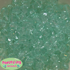 12mm Clear Mint Facet Acrylic Bubblegum Beads Lot 40 pc.chunky gumball