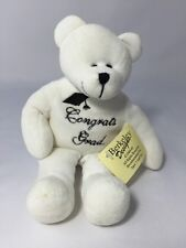 "White Teddy Bear 9"" Stuffed Animal Congrats Grad Gift Plush Toy Berkeley Designs"