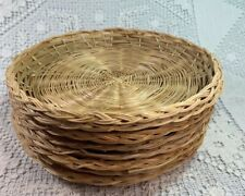 Wicker Rattan Paper Plate Holders Lot Of 8 Picnic BBQ Camping Tiki