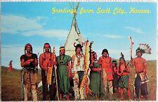 """Squaw Den Pageant Cavalry"" Battle Canyon Indians Scott City, KS Postcard Unused"