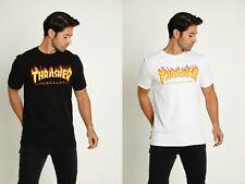 Thrasher Herren Flamme T-Shirt Schwarz Kleidung Bekleidung Skateboarding Skater