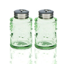 Solid Color Glass Salt and Pepper Shakers Set With Stainless lid. Green