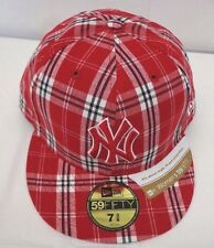 New York Yankees Women's 7 3/8 59Fifty Plaid Cap Hat New Fit