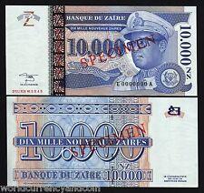 ZAIRE CONGO 10000 10,000 ZAIRES P70 1995 SPECIMEN LEOPARD MOBUTU UNC ANIMAL NOTE