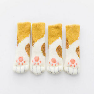 4PCS Cat Paw Table Chair Foot Leg Knit Cover Floor Protector Socks Sleeves De CA
