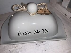 """Farmhouse Butter Dish """"Butter Me Up!"""" Gray Taupe New Farm Finds Butter Boat"""
