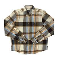 Women's Rockies Button Down Plaid Western Long Sleeve Shirt Medium