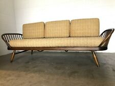 More details for original retro vintage 1960s elm beech ercol daybed sofa suite original covers