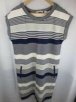 Trenery Long Dress -  Blue Grey White Stripe Womans size L