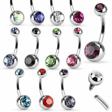 Wholesale Lot 78 Piece Surgical Steel Internally Threaded CZ Gem Belly Rings 14G