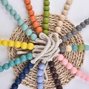 AM_ 2Pcs/Set Wooden Beads Curtain Tieback Rope Holdback Drape Holder Clip Decor