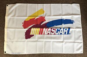 VTG 90's NOS Nascar Fan Flag Banner 2.5 x 3.5' White - Made in USA - Man Cave