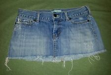 Hollister Denim Mini Skirt sz 1 Destroyed Distressed Jean Skirt