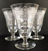 Vintage Morgantown Milan Etched Crystal Elegant Glass Iced Tea Goblets Set Of 3