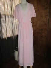 "Kayser Robe & Gown Set Long Length Size Small Pink 100% Nylon 58"" L VTG USA"