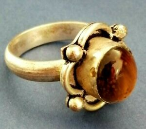 VICTORIAN EXTREMELY ANCIENT SILVER RING RARE STONE