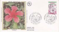 Enveloppe maximum 1er jour FDC Soie 1979 Les Floralies de la Martinique