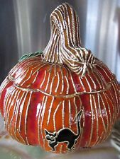 """cloisonne Pumpkin with black cat box 5"""" x 5"""" perfect for halloween"""